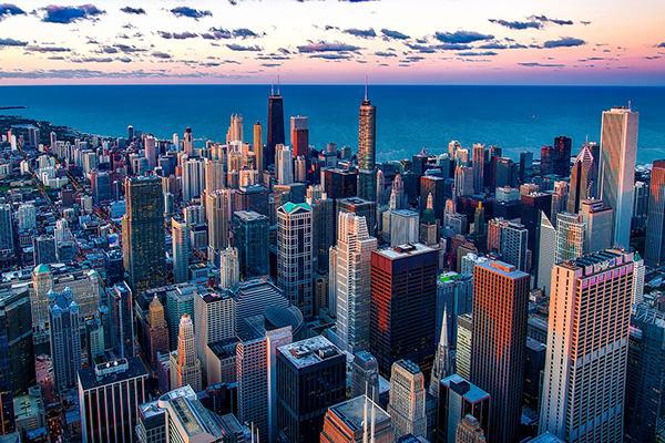 Aerial view of Chicago, Illinois on shores of Lake Michigan