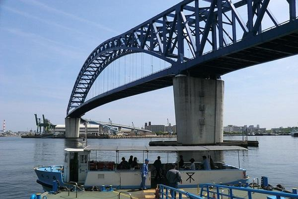 The bridge and ferry both cross the Chitose River