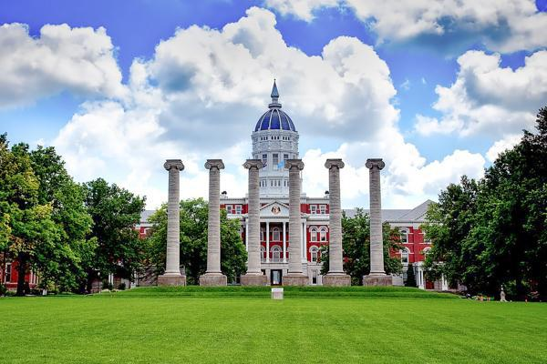 The unique Francis Quadrangle stands proudly at the University of Missouri in Columbia