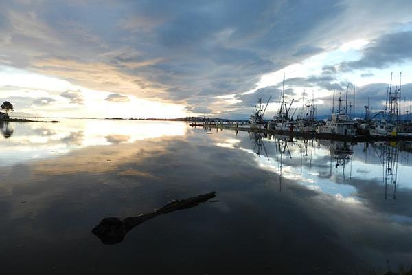The sun rises over Comox Harbour in British Columbia