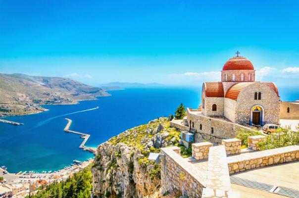 Corfu overlooks a stunning blue sea