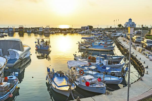 Boats line the Cyprus waterfront