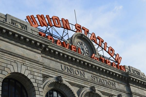 The iconic Union Station sign adorns the train station in downtown Denver, Colorado