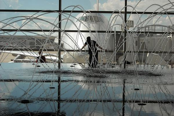 The water fountain in the McNamara Terminal of the Detroit Metropolitan Airport