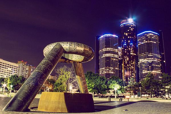 The Horace E. Dodge Fountain sitting inactive in downtown Detroit, Michigan at night
