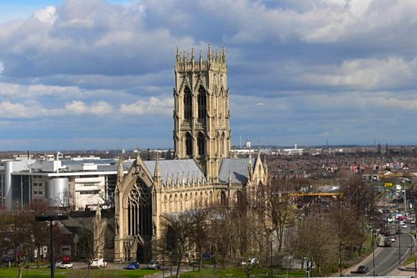 Minster Church of St George stands proudly amongst the city of Doncaster, England