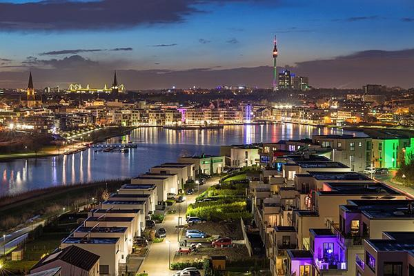 Bright lights and the urban landscape of Dortmund, Germany at night