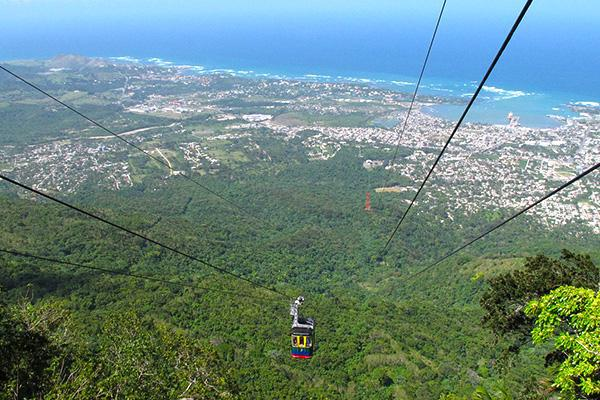 A gondola hangs high above Puerto Plata in the Dominican Republic