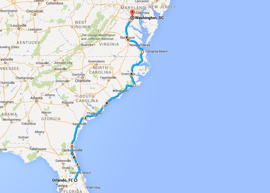 Mapa de la costa este de los EE.UU.