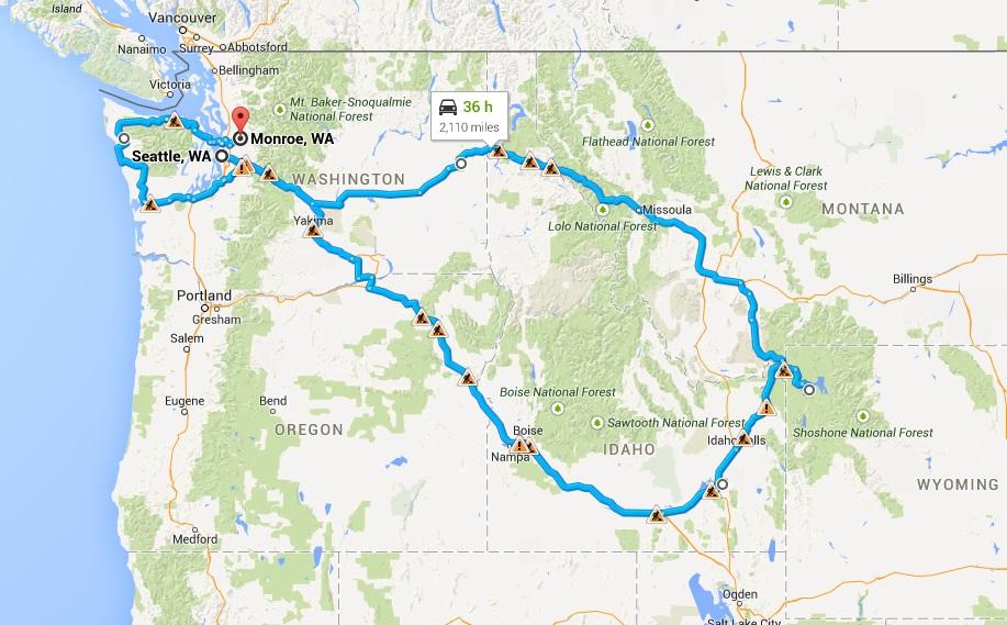 Mapa del nord-oeste de los Estados Unidos