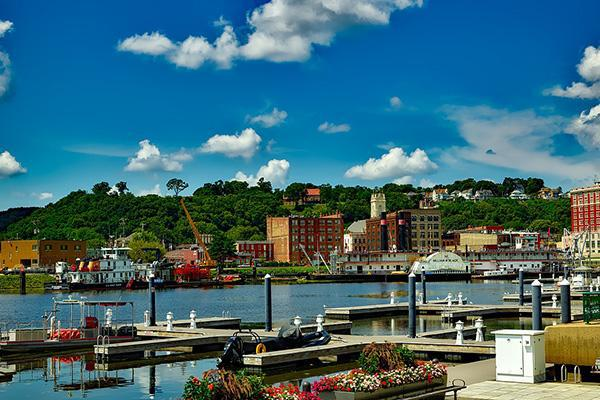 Buildings line the waterfront in sunny Dubuque, Iowa