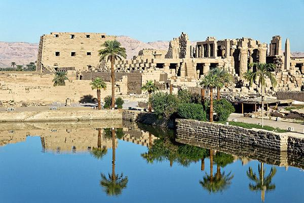 Karnak Temple provides an oasis in the middle of the desert in Luxor, Egypt