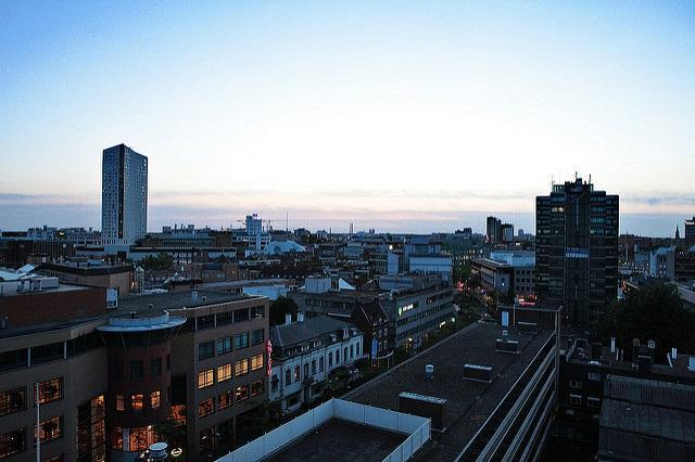 The sun sets over central Eindhoven