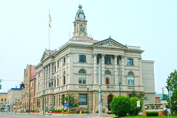 The Elmira Town Hall looking stately in Elmira, New York