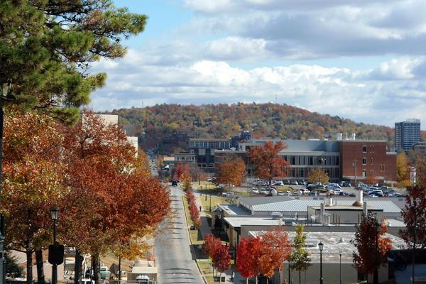 Mount Sequoyah looks out over the University of Arkansas in Fayetteville, Arkansas