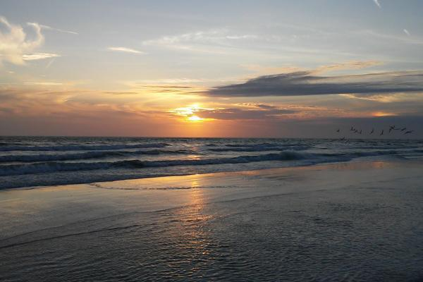 The sun sets over the ocean on a stunning night in Venice, Florida