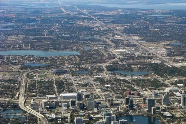 Aerial view of Downtown Orlando.