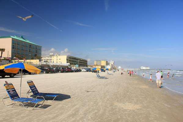 Beach walk on the shoreline of Daytona Beach.