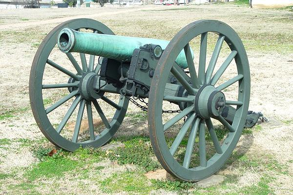 A historical cannon in the old military base city of Fort Smith, Arkansas