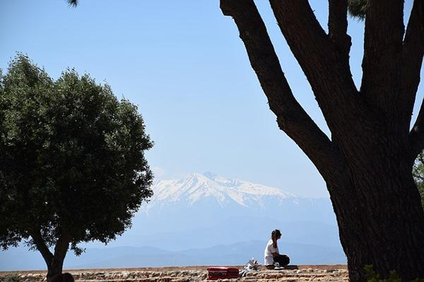 A woman relaxes under a tree with the Pyrenees in the distance in Perpignan, France