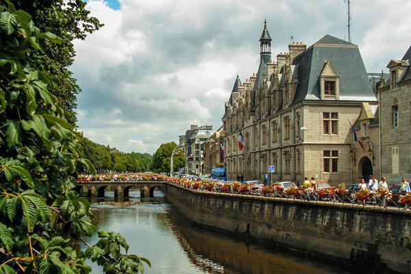 The beautiful Odet River in Quimper, France consists of many heritage sites frequented by tourists