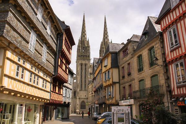 The Cathedral of Saint-Corentin in Quimper, France towers over the cities other buildings