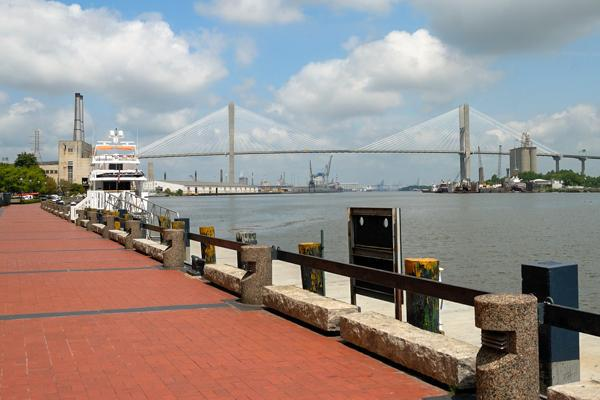 Talmadge Bridge overlooks the waterfront harbour in Savannah Georgia