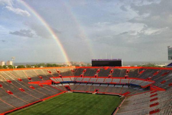 Rainbow Over Ben Hill Griffin Stadium (The Swamp) Gainesville, Florida.