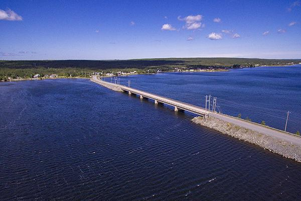 The Gander Bay Causeway in Newfoundland, Canada (connects the communities on opposite sides of the Gander River)