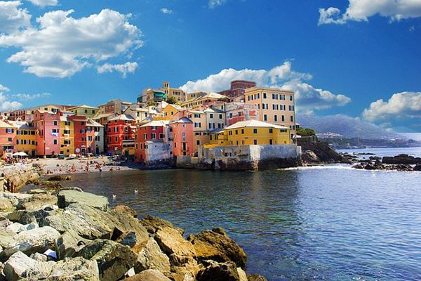 The colourful buildings of Boccadasse on the coastal city of Genoa, Italy