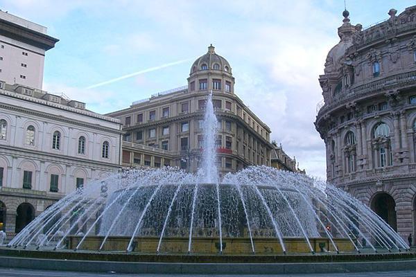 The fountain at the Piazza De Ferrari in Genoa, Italy