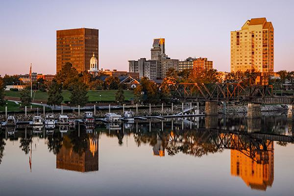 Downtown Augusta, Georgia reflecting off the water at dusk