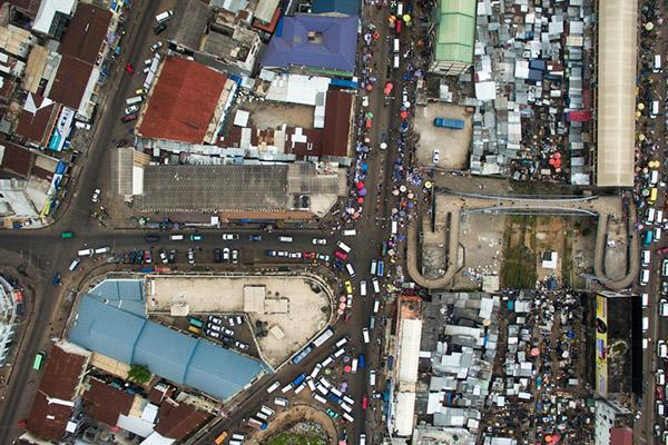 An aerial view of the busy streets of Kumasi, Ghana in the district of Adum
