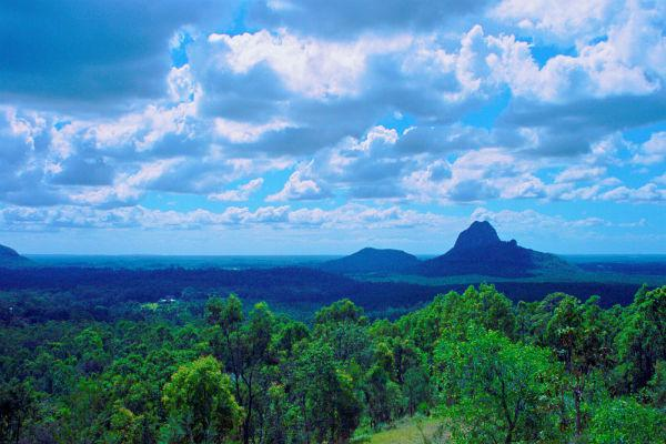 If you get the chance, head inland from the Sunshine Coast to witness the glory of the Glass House Mountains.