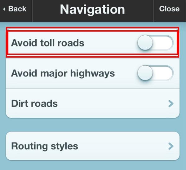GPS躲开收费公路