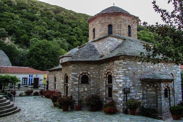 The historic Evangelistria Monastery stands proudly in Skiathos, Greece
