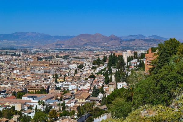 The city of Granada sprawls across the valley in the Andalusian region of Spain