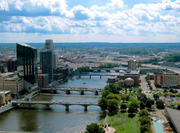 Downtown Grand Rapids from the 28th floor of the River House Condo.