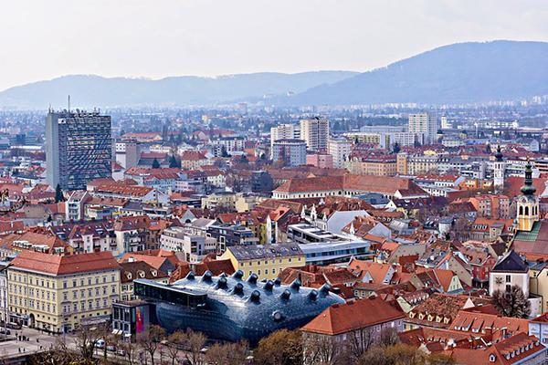 The crowded skyline of Graz on a grey day in Austria