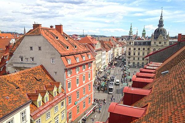The picturesque view of Graz, Austria from above