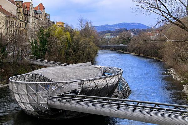The metal Murinsel Island on the River Mur in Graz, Austria