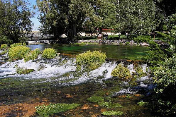 The rushing water of Giant Springs National Park, Great Falls, Montana