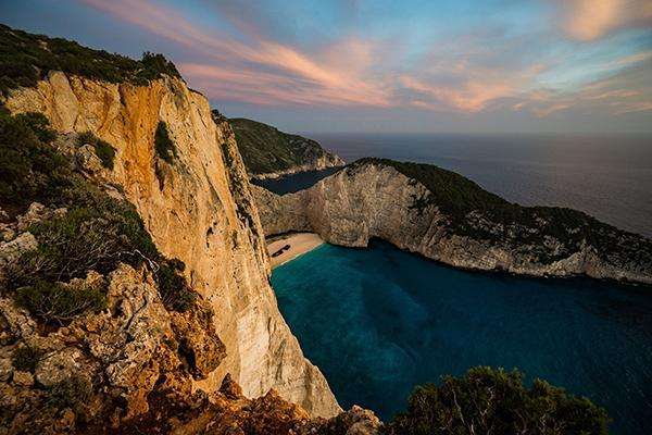 The beautiful and iconic rock face and beach of Zakynthos, Greece