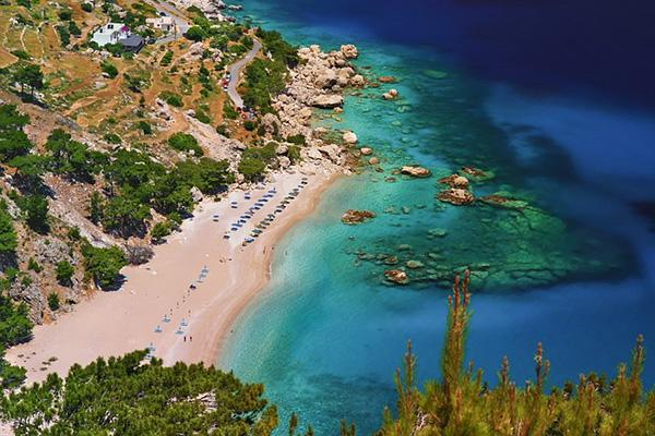 The beautiful beach and turquoise waters of Karpathos, Greece