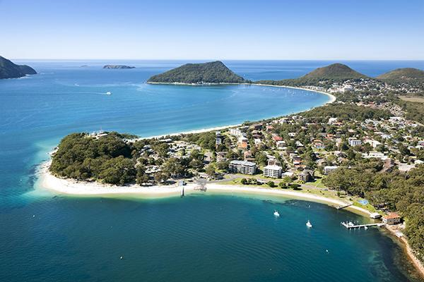 Aerial view of Halifax Holiday Park in Port Stephens