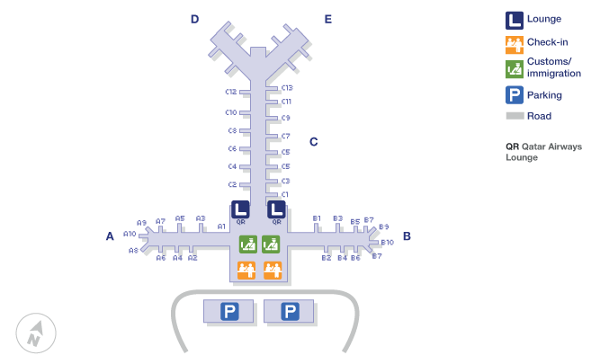 Doha airport terminal map