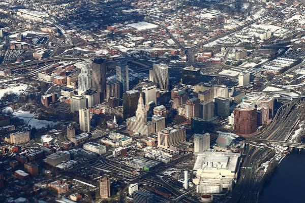 Hartford, Connecticut, viewed from an airplane en route to Bradley International Airport