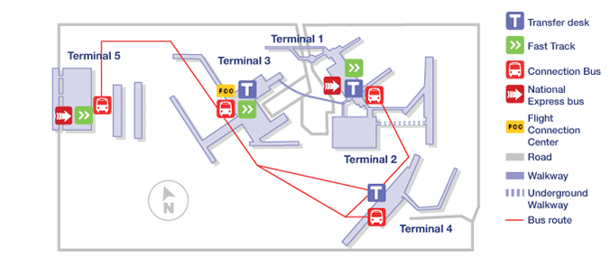 Heathrow terminal map