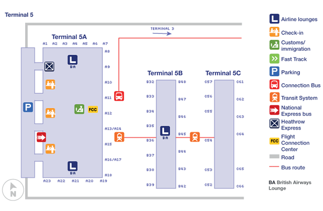 Heathrow airport terminal map