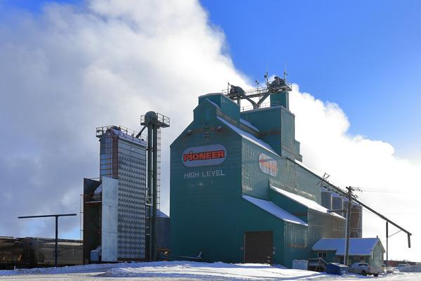 A functioning grain elevator beats at the heart of High Level, Canada